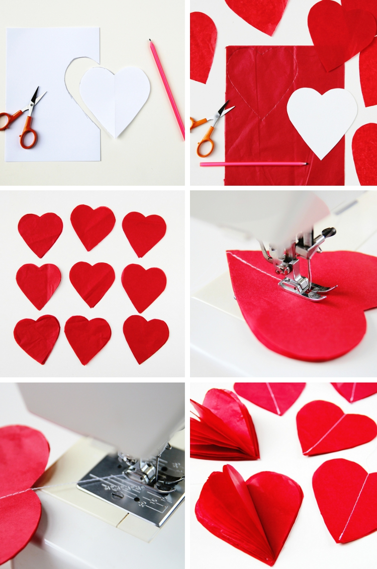 DIY 3D VALENTINE'S DAY TISSUE PAPER HEART DECORATIONS ...