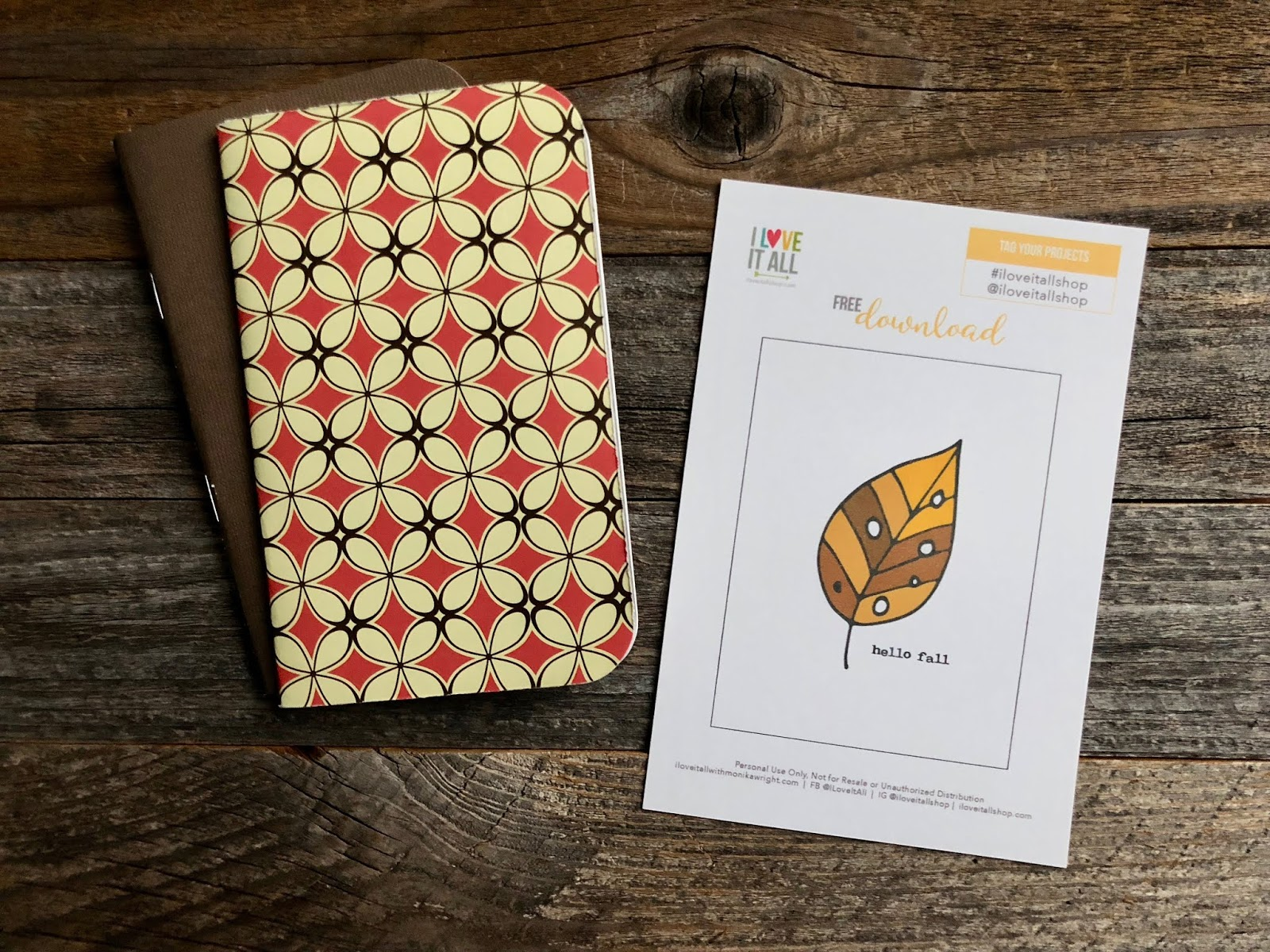 #travelers notebook #Hello Fall #free download #printable #free #Hello Fall Card #Midori #planner supplies #Fall #Autumn