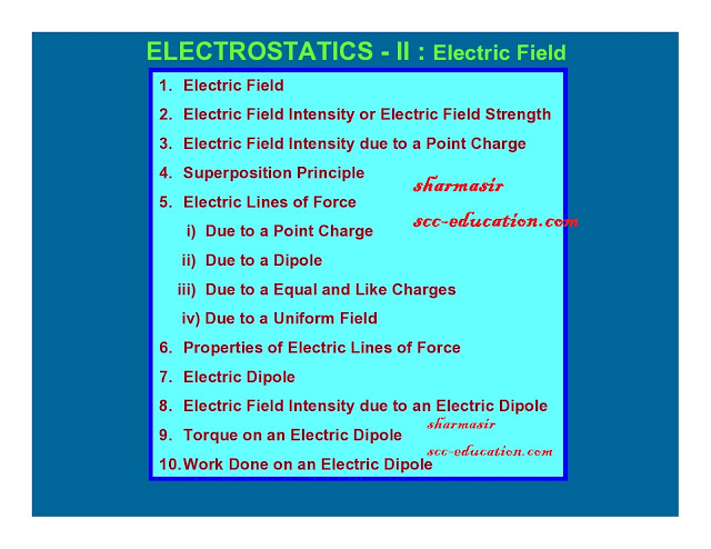 electrostatics,electric field,electric field intensity due to point charge,superposition principle,electric field line,properties of  electric lines of force,electric dipole,electric field intensity due to an electric dipole,torque on an electric dipole,work done on an electric dipole,