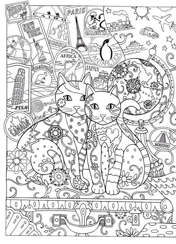 MATIN LUMINEUX Coloriages Chats