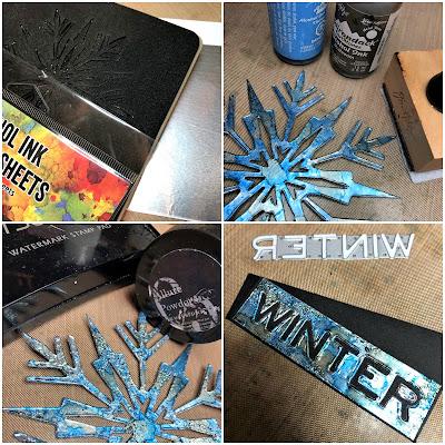 Mixed Media Techniques Tutorial by Sara Emily Barker for The Funkie Junkie Boutique https://frillyandfunkie.blogspot.com/2019/01/saturday-showcase-easy-mixed-media.html Tim Holtz Sizzix Alterations Ice Flake 17