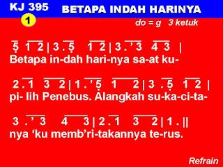Lirik dan Not Kidung Jemaat 395 Betapa Indah Harinya