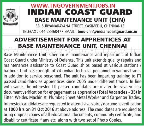 Apprentices Opportunity in Indian Coast Guard Chennai for ITI Trade Certificate holders in Chennai
