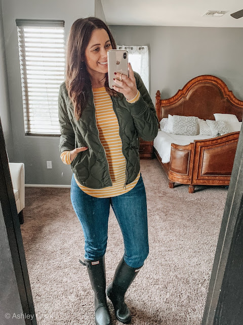 bomber old navy jacket stripped tee hunter boots