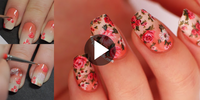DIY - How To Create Simple And Easy Vintage Gradient Floral Nails, See Tutorial