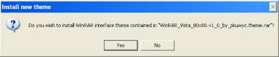 Install new theme window