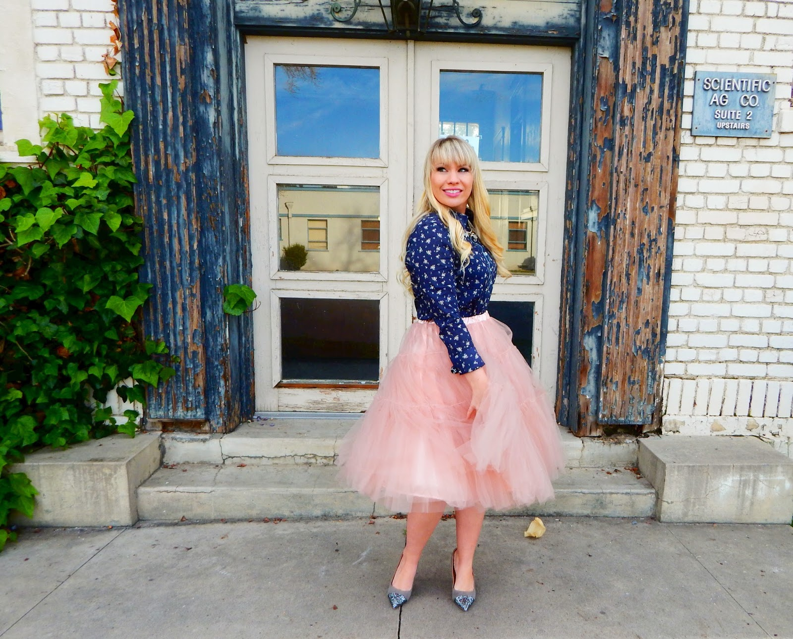 Navy Floral and Pink Tulle & Friday Favorites Link Up