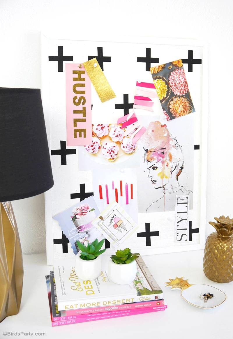 DIY Geometric Bulletin Memo Board Tutorial - BirdsParty.com