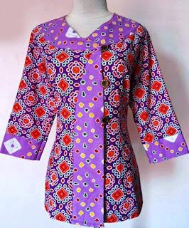 model baju batik muslim atasan wanita tampil cantik