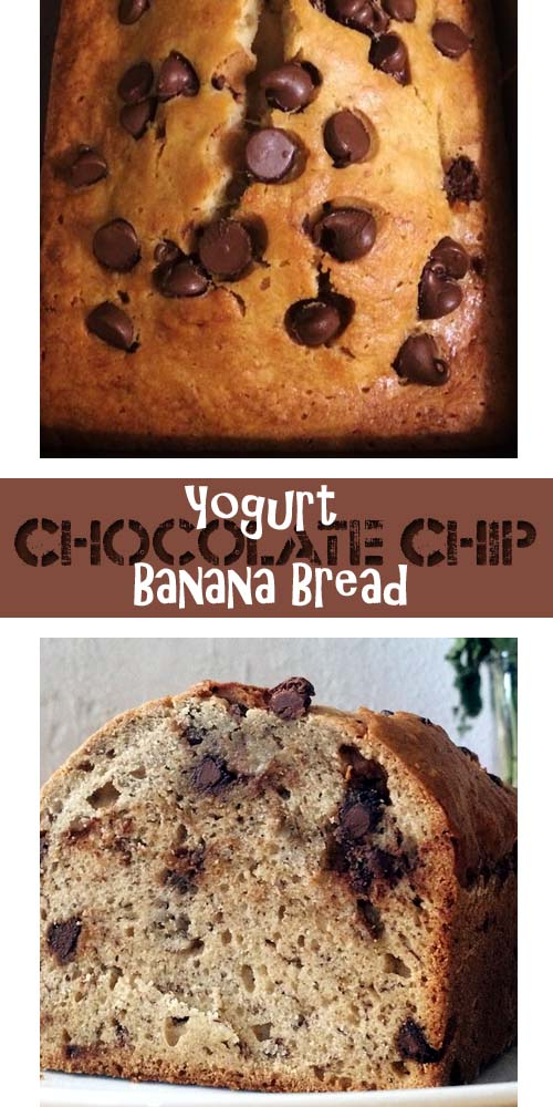 Banana bread recipe using low-fat yogurt and filled with chocolate chips. Easy and Delicious!