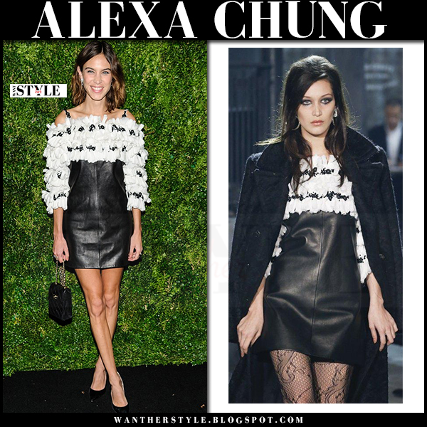 Alexa Chung in black leather mini dress with white ruffles chanel what she wore