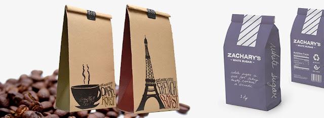 in túi giấy kraft đựng cafe
