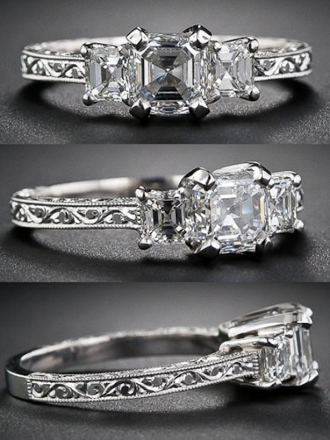 1.01 carat asscher cut diamond three stone ring.