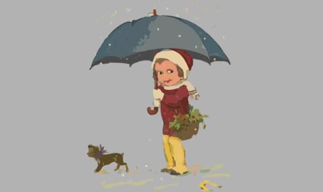 Mädchen mit Regenschirm und Hund