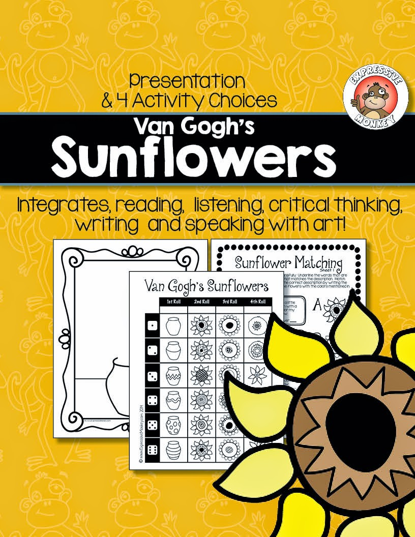 Expressive Monkey's Integrated Sunflower Lesson: This lesson comes with a presentation on Vincent van Gogh, a dice drawing game, the description cards, a writing activity and a matching activity.  Labels and rubrics are also included.