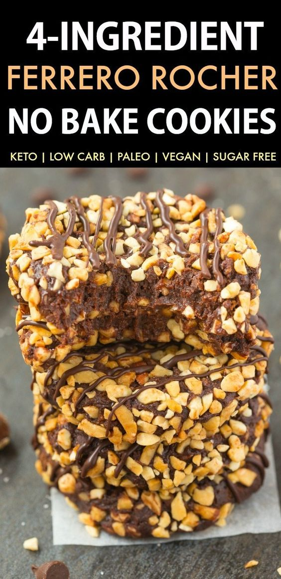 No Bake Paleo Vegan Chocolate Hazelnut Cookies (Keto, Low Carb, Sugar Free)