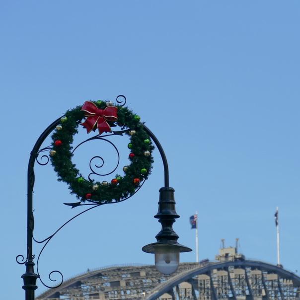 Weihnachten, Dekoration, Sydney, Australien, Harbour Bridge, Strassenlampe, Strassenlaterne, kranz