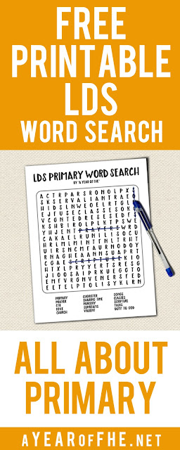 A Year of FHE // a free download of a Word Search all about LDS Primary! This would be perfect for a sacrament meeting quiet activity, Activity Days, or Family Home Evening lesson!