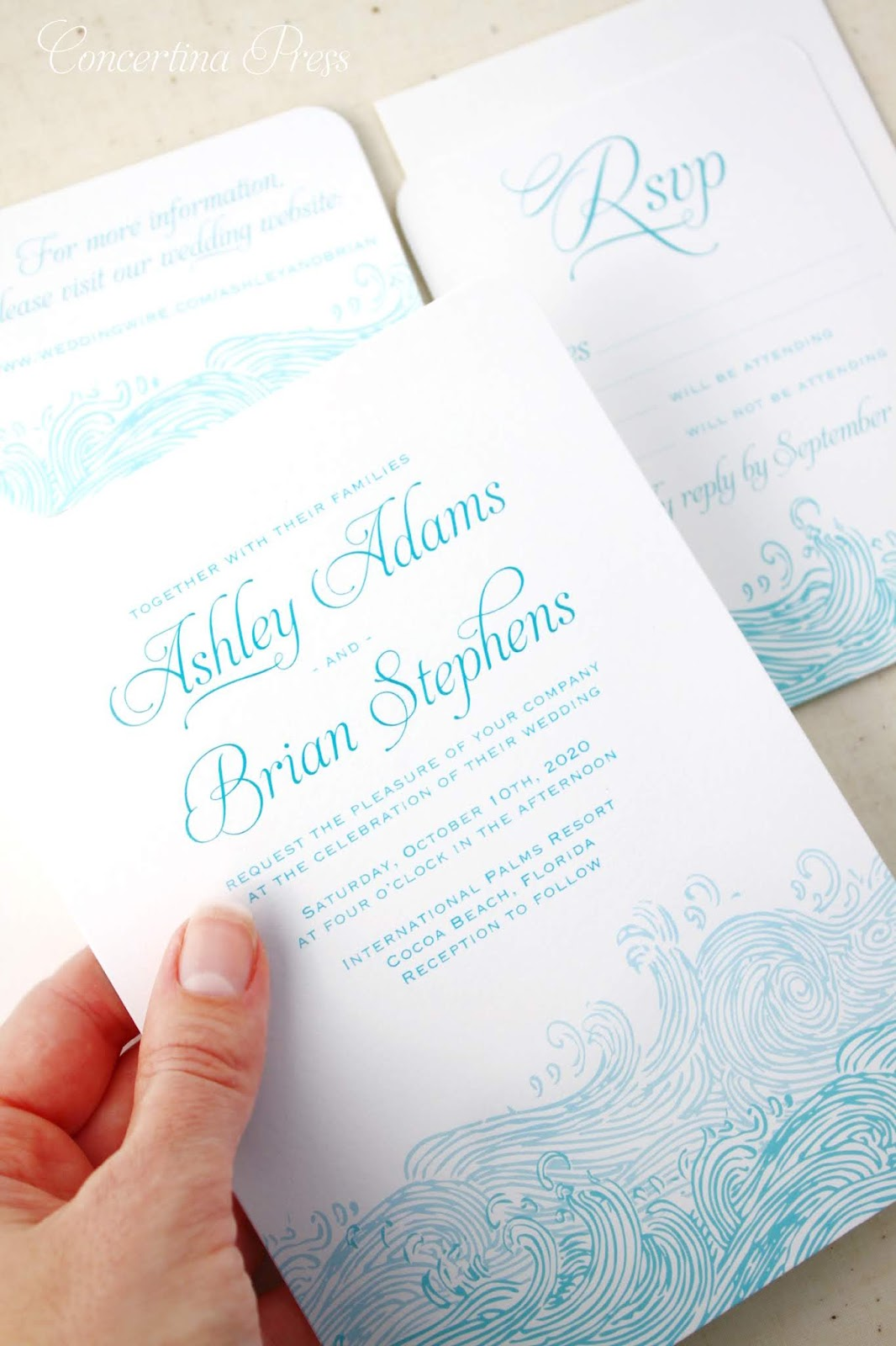 Beach Waves Wedding Invitations with RSVP and Website Card from Concertina Press