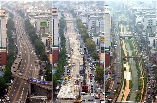 Cheonggyecheon sebelum dan setelah restorasi