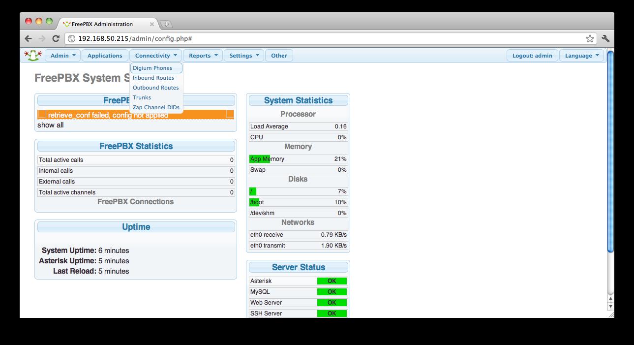 OpenSBC: AsteriskNOW : Web GUI