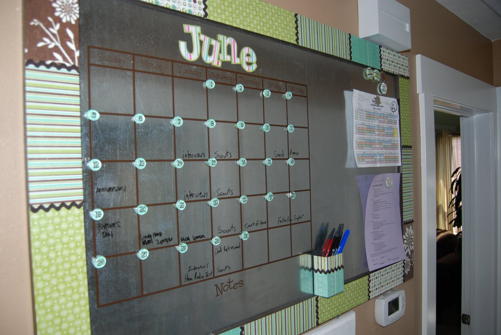 Relatively Oversized Dry Erase/Magnetic Calendar - Burton Avenue LH86