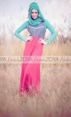Model Baju Muslim Wanita Bahan Jeans Terbaru