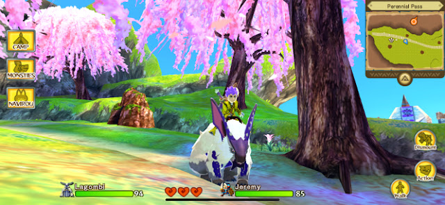 The main character of the game and one of his monsties in a field with cherry blossoms.