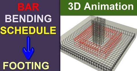 Bar Bending Schedule of Footing with 3D Animation