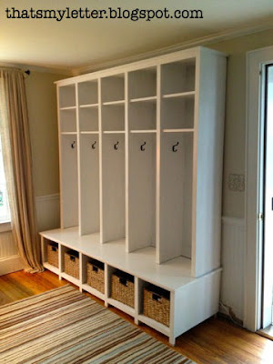 diy locket and bench mudroom unit with basket storage