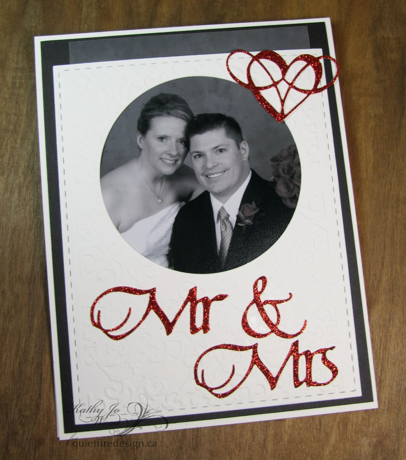 Quietfire Creations Mr Mrs wedding announcement card with