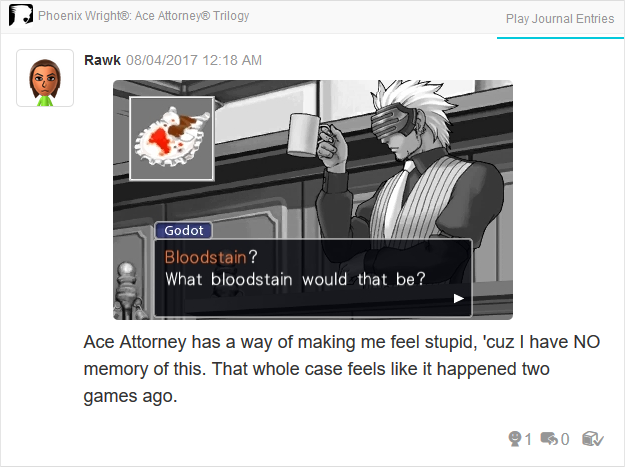 Phoenix Wright Ace Attorney Trials and Tribulations Godot can't see red bloodstain