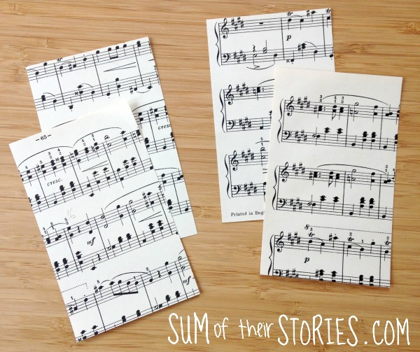 Sheet Music Gift Card Envelopes