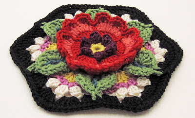 Crochet flower, hexie-shaped block made by Robin Atkins