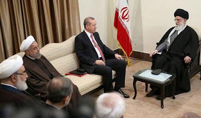 Hassan Rouhani (L), E. Erdogan (center), Ali Khamenei (R)