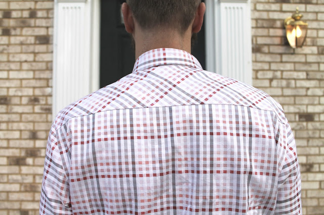 Back yoke of a pink and white plaid men's shirt made using the Thread Theory Fairfield Button-Up Shirt sewing pattern.
