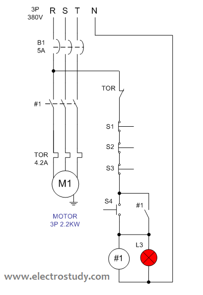 Wiring diagram 3 phase motor 22 kW with stop series connection | ElectroStudy