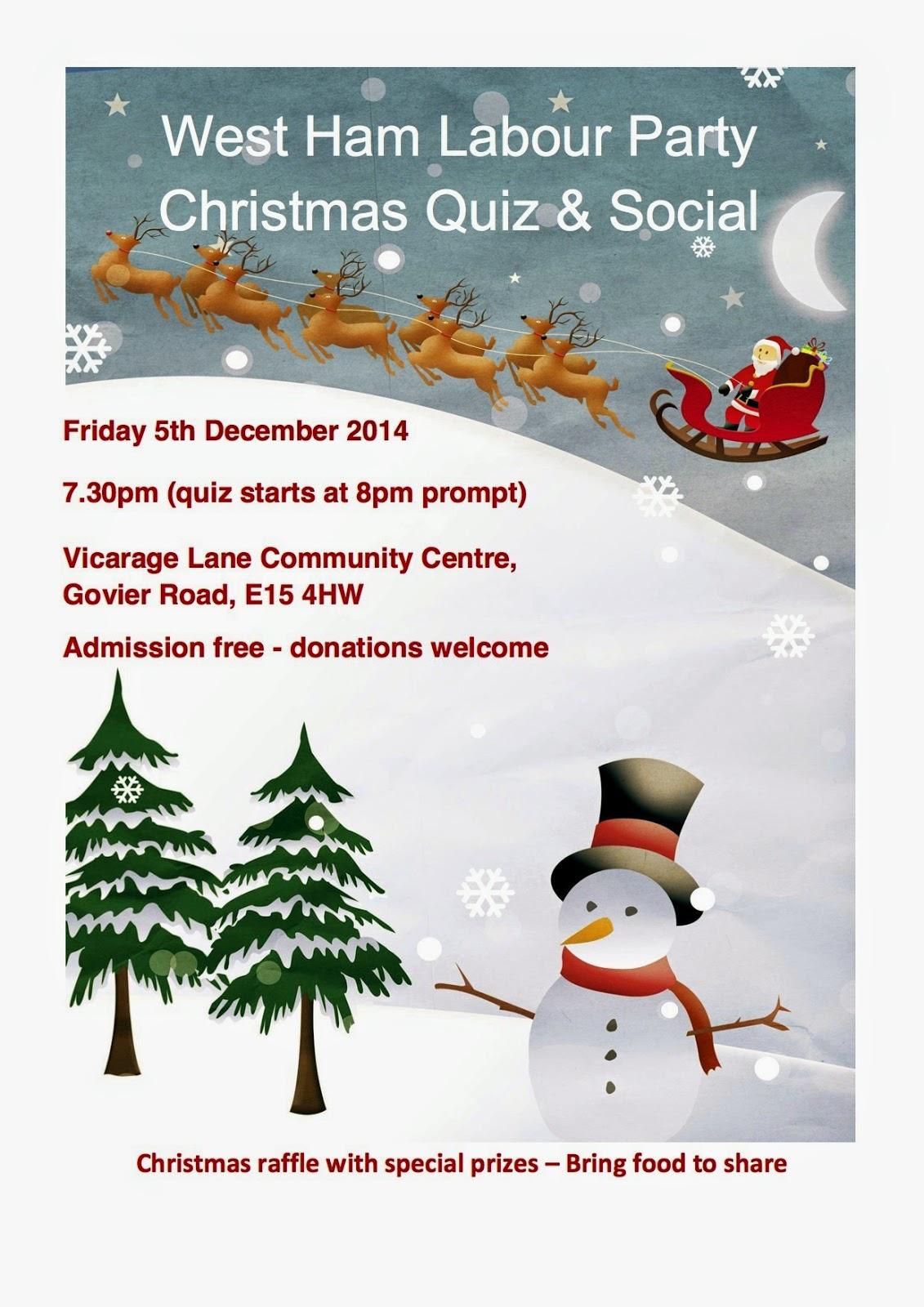 John S Labour Blog West Ham Labour Party Christmas Quiz Fri 5 December