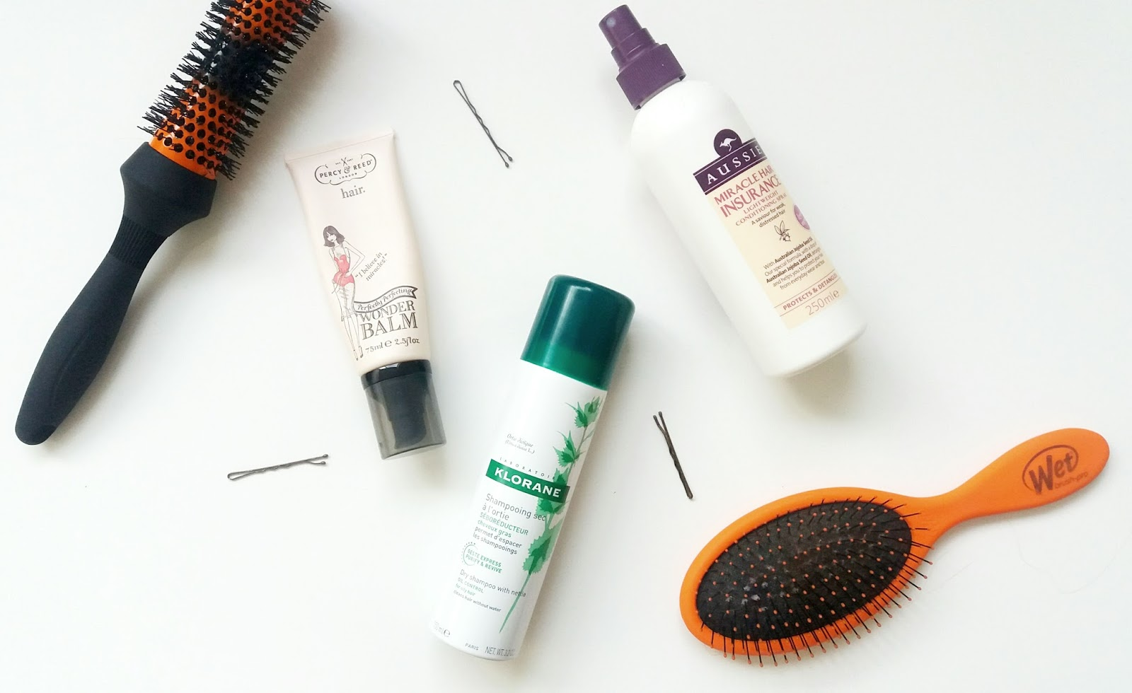Percy and Reed Wonder Balm, Klorane Dry Shampoo, Aussie Miracle Hair Insurance