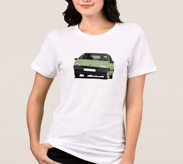 Zazzle Renault Clio light green illustration on t-shirt