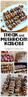 Steak and Mushroom Kabobs found on KalynsKitchen.com
