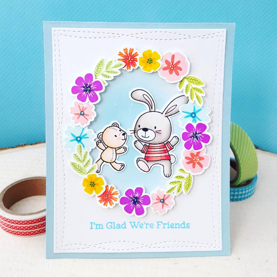 Snuggle Bunnies and Mini Modern Blooms stamp sets and Die-namics, Wonky Stitched Rectangle STAX Die-namics Amy Yang #mftstamps