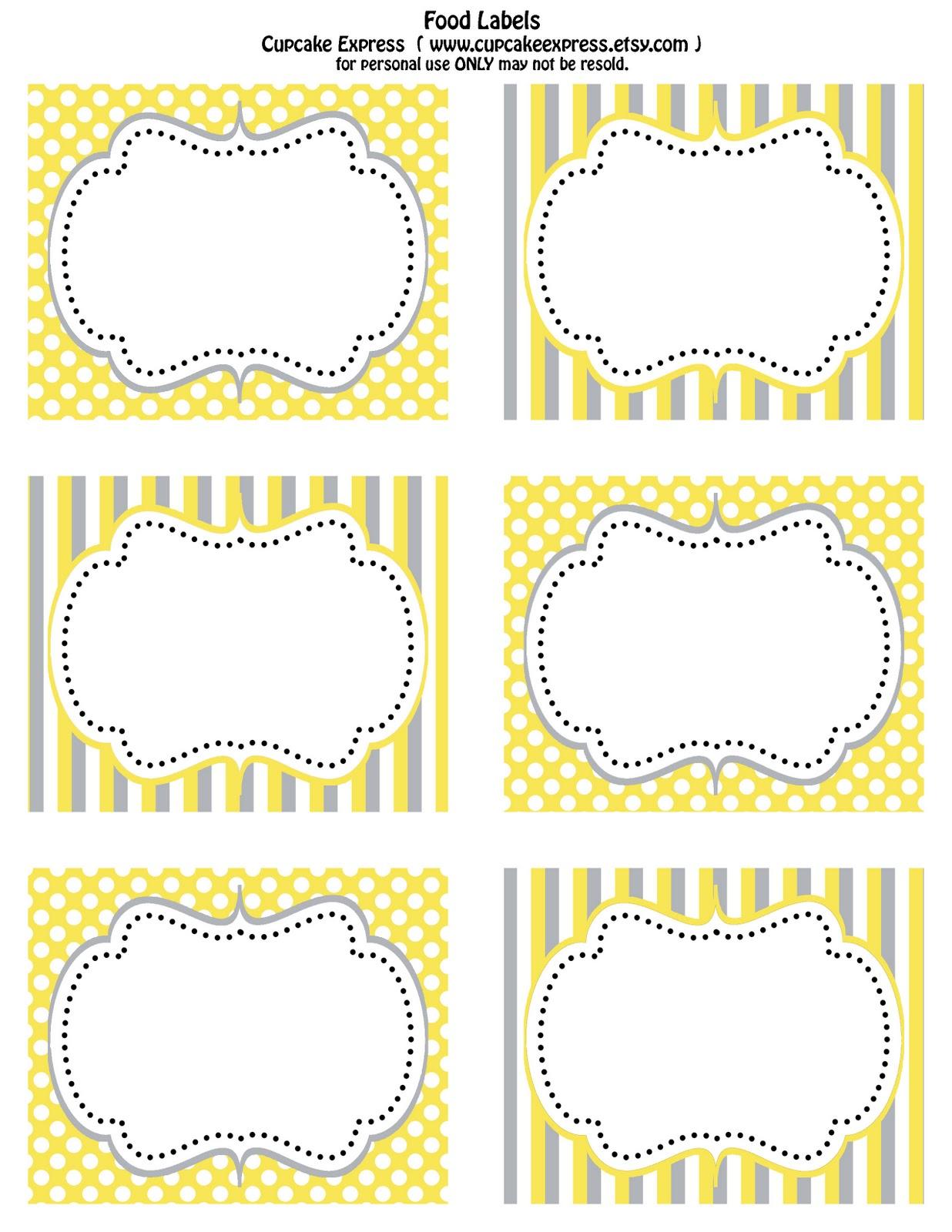 Cupcake Express Free Printable Yellow And Grey Food