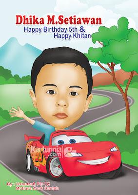 kartun anak lucu naik mobil