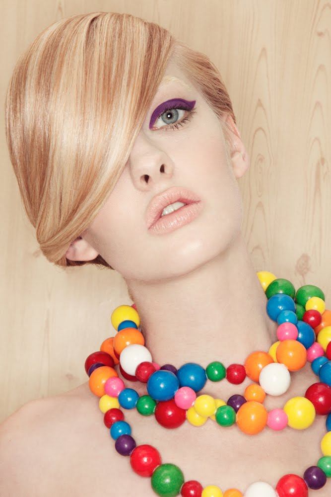 Junk Food Candy Necklace Red Rope LolliPop Accessories Beauty Editorial with model Dani Lunquist