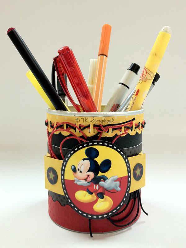 porta canetas scrapbook mickey disney