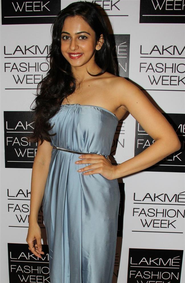 Tollywood Princes Rakul Preet Singh In Blue Gown At Lakme Fashion Week Summer Resort