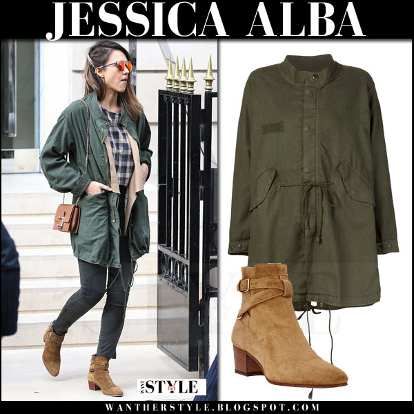 Jessica Alba in green canvas the great parka and camel suede ankle boots what she wore streetstyle
