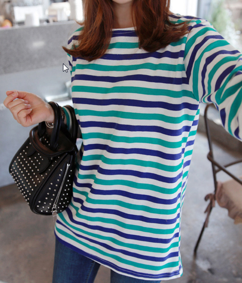 Tri-Color Striped Long Sleeve Top