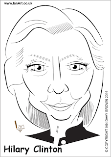 Hilary Clinton Caricature by Ian Davy Brown